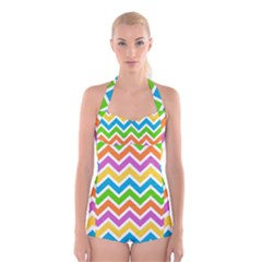 Chevron Pattern Design Texture Boyleg Halter Swimsuit  by Sapixe