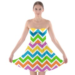 Chevron Pattern Design Texture Strapless Bra Top Dress by Sapixe