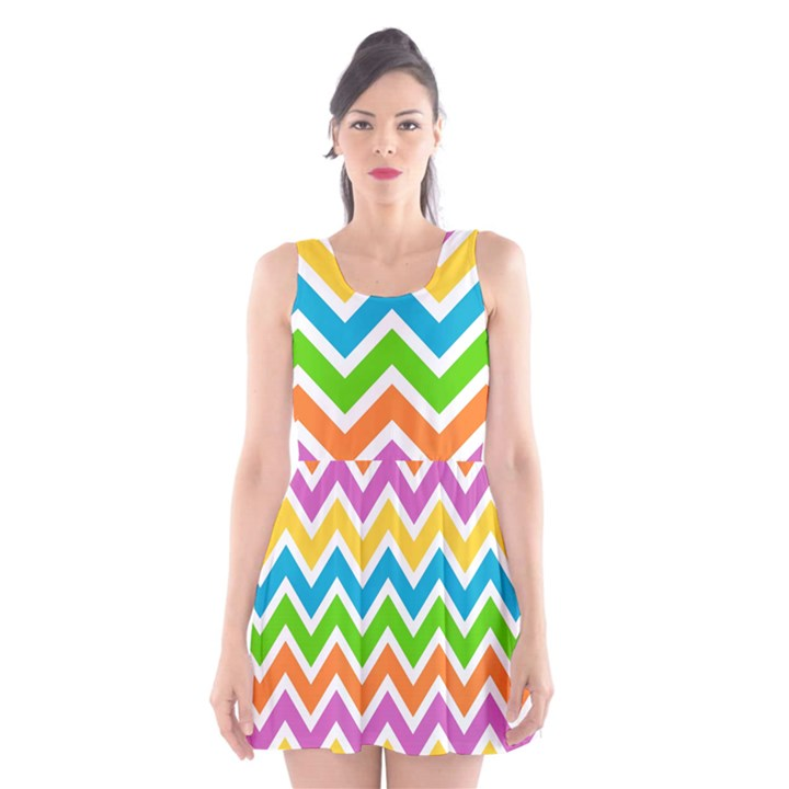 Chevron Pattern Design Texture Scoop Neck Skater Dress