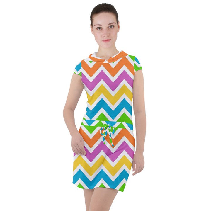 Chevron Pattern Design Texture Drawstring Hooded Dress