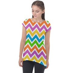 Chevron Pattern Design Texture Cap Sleeve High Low Top