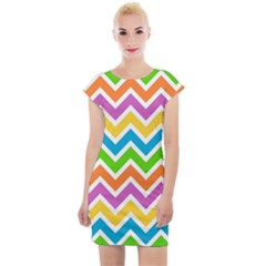 Chevron Pattern Design Texture Cap Sleeve Bodycon Dress