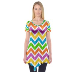 Chevron Pattern Design Texture Short Sleeve Tunic  by Sapixe