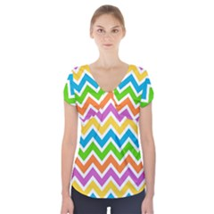 Chevron Pattern Design Texture Short Sleeve Front Detail Top by Sapixe