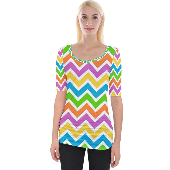 Chevron Pattern Design Texture Wide Neckline Tee