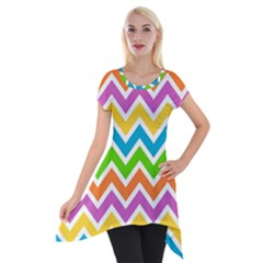 Chevron Pattern Design Texture Short Sleeve Side Drop Tunic by Sapixe