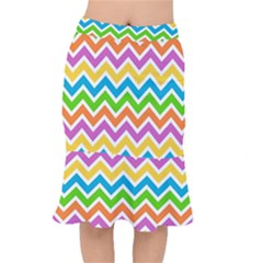 Chevron Pattern Design Texture Mermaid Skirt