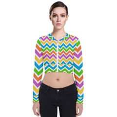 Chevron Pattern Design Texture Long Sleeve Zip Up Bomber Jacket by Sapixe