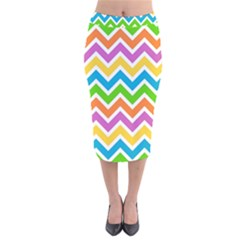 Chevron Pattern Design Texture Velvet Midi Pencil Skirt