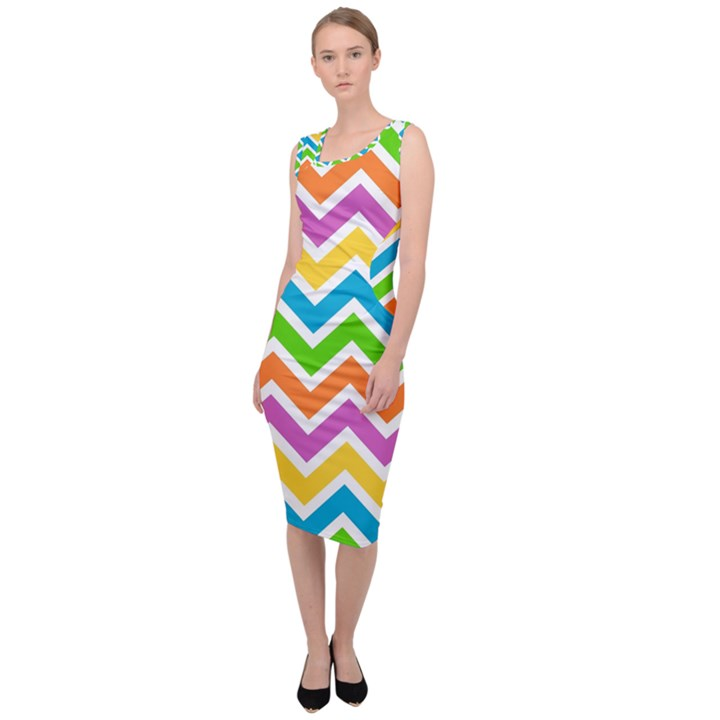 Chevron Pattern Design Texture Sleeveless Pencil Dress