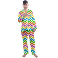 Chevron Pattern Design Texture Men s Satin Pajamas Long Pants Set