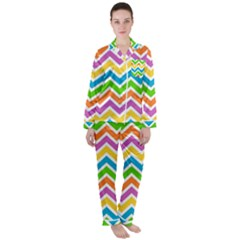 Chevron Pattern Design Texture Satin Long Sleeve Pyjamas Set