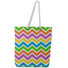 Chevron Pattern Design Texture Full Print Rope Handle Tote (large)