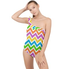 Chevron Pattern Design Texture Frilly One Shoulder Swimsuit by Sapixe