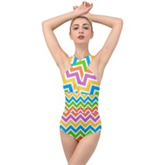 Chevron Pattern Design Texture Cross Front Low Back Swimsuit by Sapixe