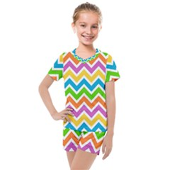 Chevron Pattern Design Texture Kids  Mesh Tee And Shorts Set by Sapixe