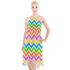 Chevron Pattern Design Texture High Low Halter Chiffon Dress