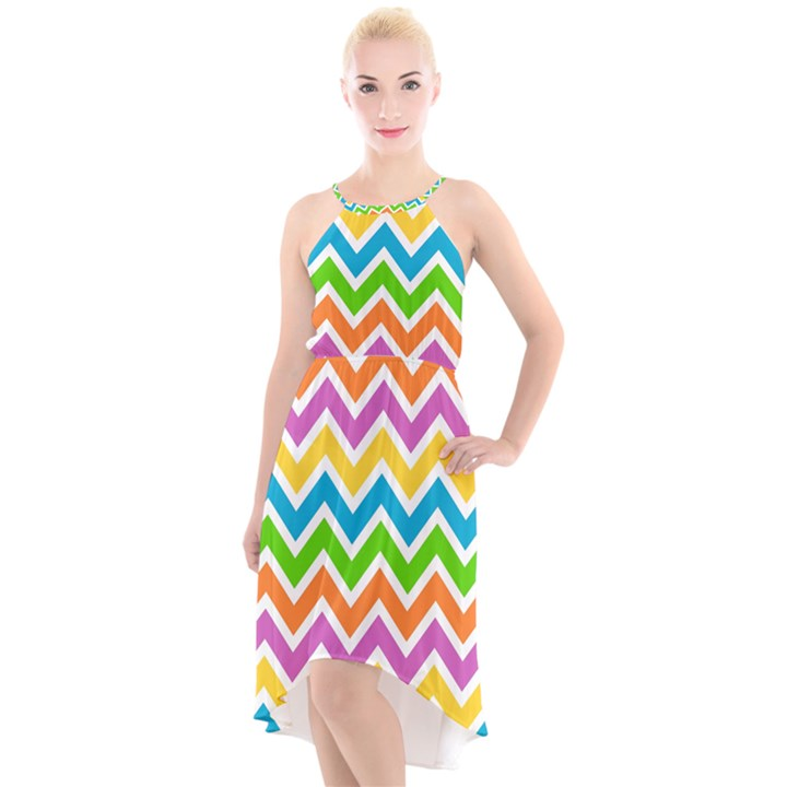 Chevron Pattern Design Texture High-Low Halter Chiffon Dress
