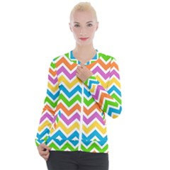 Chevron Pattern Design Texture Casual Zip Up Jacket by Sapixe