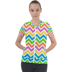 Chevron Pattern Design Texture Short Sleeve Zip Up Jacket by Sapixe