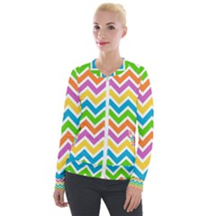 Chevron Pattern Design Texture Velour Zip Up Jacket by Sapixe