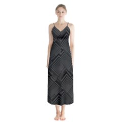 Diagonal Square Black Background Button Up Chiffon Maxi Dress