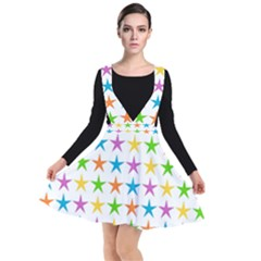 Star Pattern Design Decoration Plunge Pinafore Dress
