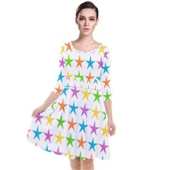 Star Pattern Design Decoration Quarter Sleeve Waist Band Dress