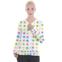 Star Pattern Design Decoration Casual Zip Up Jacket