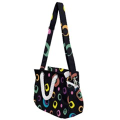 Abstract Background Retro Rope Handles Shoulder Strap Bag