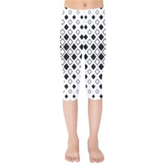 Square Diagonal Pattern Monochrome Kids  Capri Leggings  by Sapixe