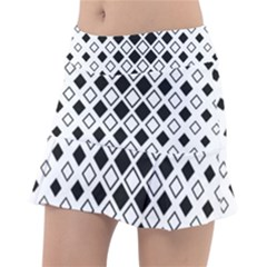 Square Diagonal Pattern Monochrome Tennis Skirt by Sapixe