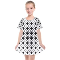 Square Diagonal Pattern Monochrome Kids  Smock Dress by Sapixe