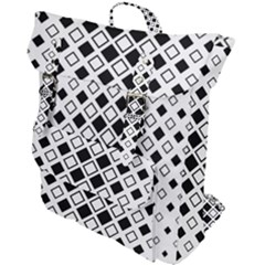 Square Diagonal Pattern Monochrome Buckle Up Backpack by Sapixe