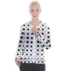 Square Diagonal Pattern Monochrome Casual Zip Up Jacket