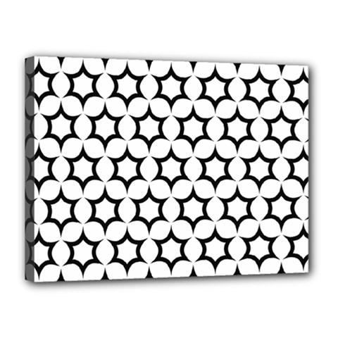 Pattern Star Repeating Black White Canvas 16  X 12  (stretched) by Sapixe