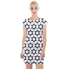 Pattern Star Repeating Black White Cap Sleeve Bodycon Dress