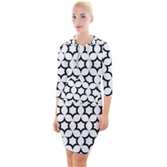 Pattern Star Repeating Black White Quarter Sleeve Hood Bodycon Dress