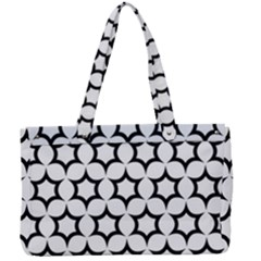 Pattern Star Repeating Black White Canvas Work Bag by Sapixe
