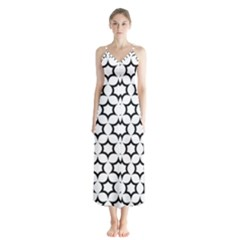Pattern Star Repeating Black White Button Up Chiffon Maxi Dress