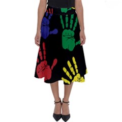 Handprints Hand Print Colourful Perfect Length Midi Skirt