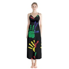 Handprints Hand Print Colourful Button Up Chiffon Maxi Dress