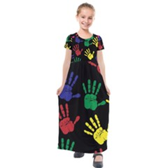 Handprints Hand Print Colourful Kids  Short Sleeve Maxi Dress by Sapixe