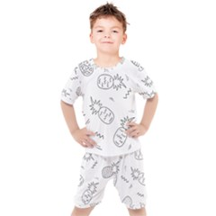 Doodle Pineapples Kids  Tee And Shorts Set by goljakoff