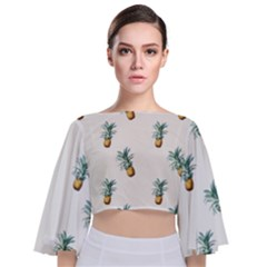 Pineapples Pattern Tie Back Butterfly Sleeve Chiffon Top by goljakoff