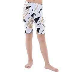 Black & Gold Pineapples Kids  Mid Length Swim Shorts by goljakoff