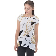 Black & Gold Pineapples Cap Sleeve High Low Top by goljakoff