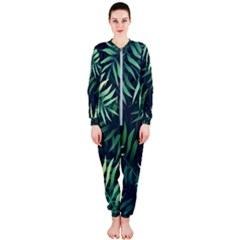 Night Tropical Leaves Onepiece Jumpsuit (ladies)  by goljakoff