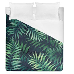 Night Tropical Leaves Duvet Cover (queen Size) by goljakoff