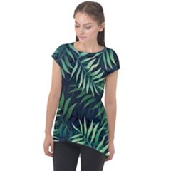 Night Tropical Leaves Cap Sleeve High Low Top by goljakoff